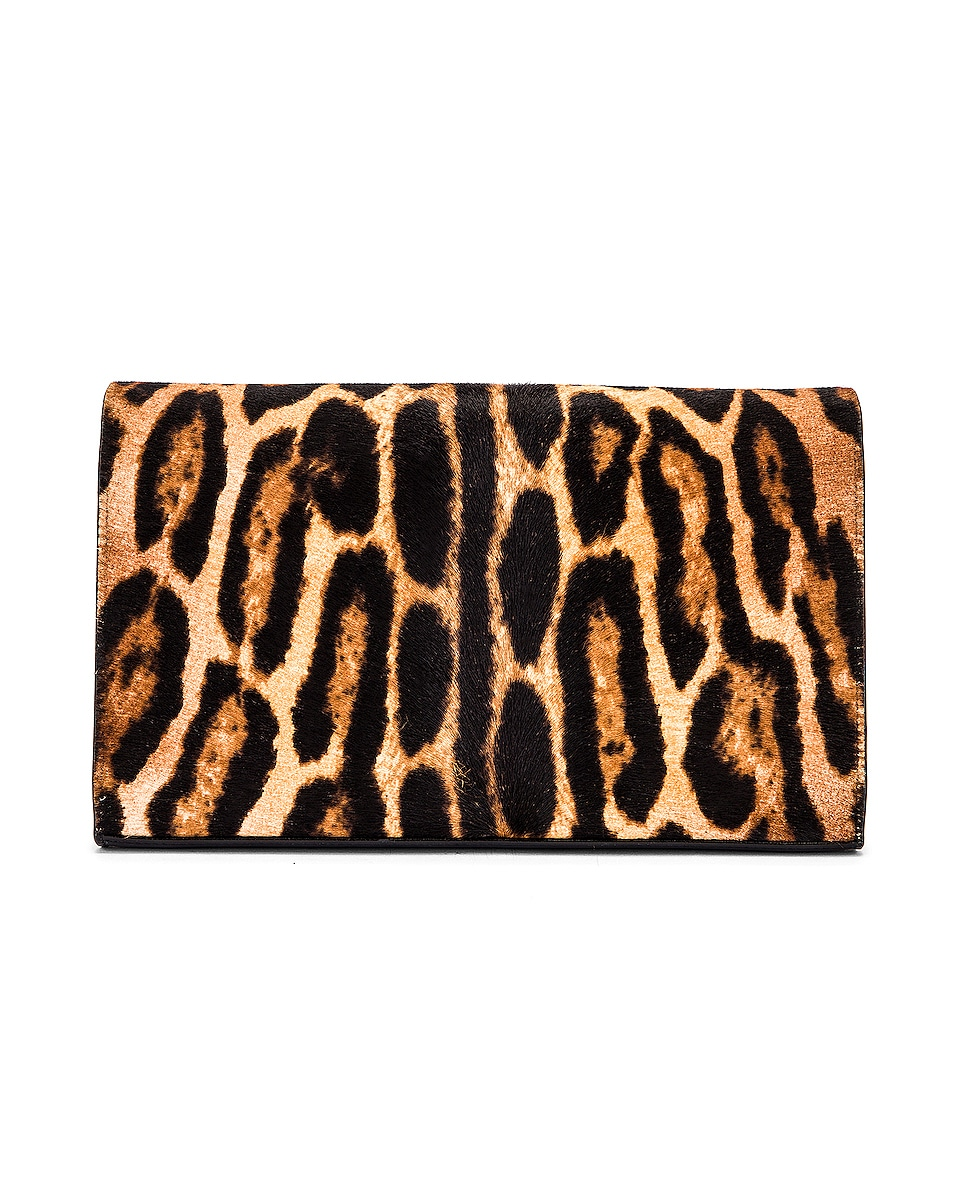 Image 3 of Saint Laurent Leopard Monogramme Chain Wallet Crossbody Bag in Black & Natural