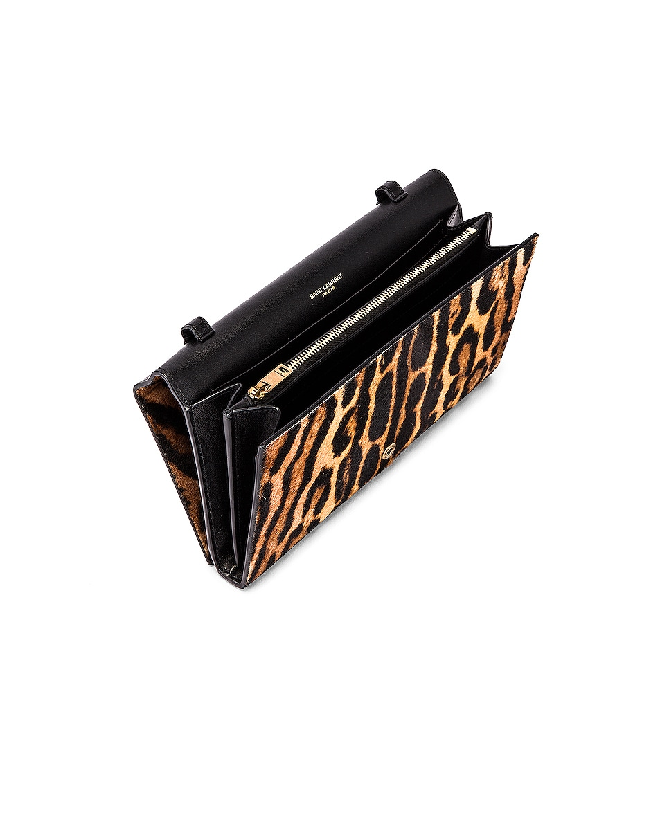 Image 5 of Saint Laurent Leopard Monogramme Chain Wallet Crossbody Bag in Black & Natural