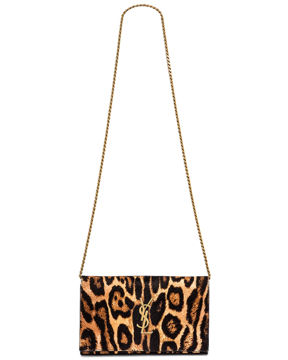 Image 6 of Saint Laurent Leopard Monogramme Chain Wallet Crossbody Bag in Black & Natural