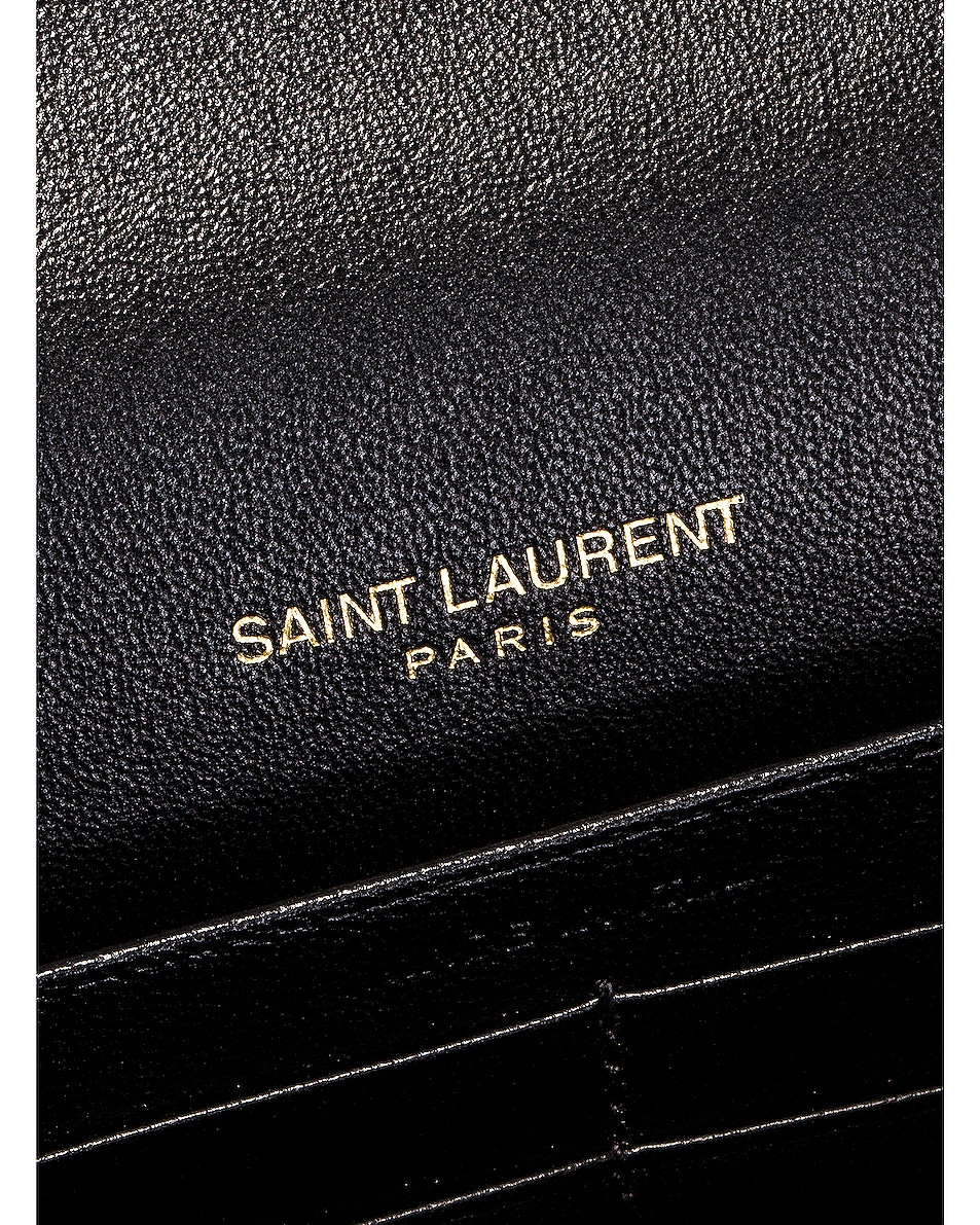 Image 7 of Saint Laurent Leopard Monogramme Chain Wallet Crossbody Bag in Black & Natural