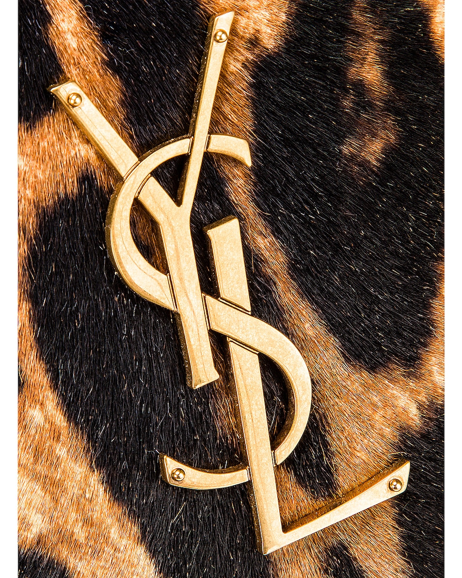 Image 8 of Saint Laurent Leopard Monogramme Chain Wallet Crossbody Bag in Black & Natural