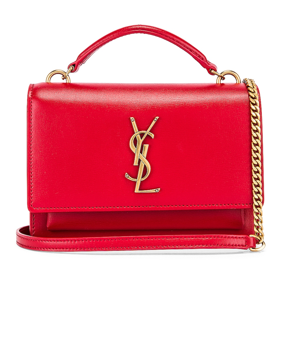 Image 1 of Saint Laurent Sunset Monogramme Crossbody Bag in Red