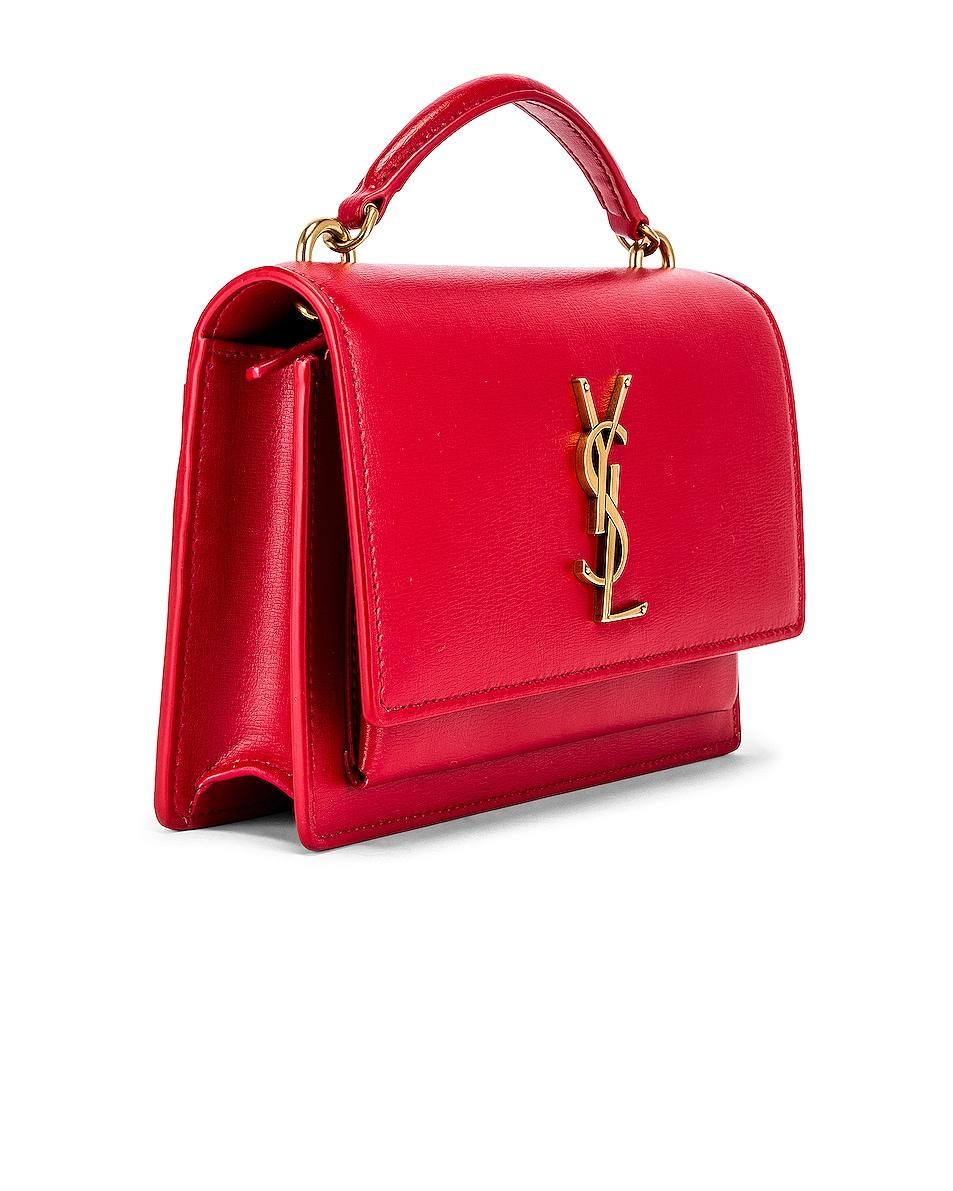 Image 4 of Saint Laurent Sunset Monogramme Crossbody Bag in Red