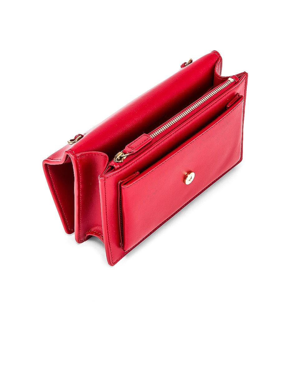 Image 5 of Saint Laurent Sunset Monogramme Crossbody Bag in Red
