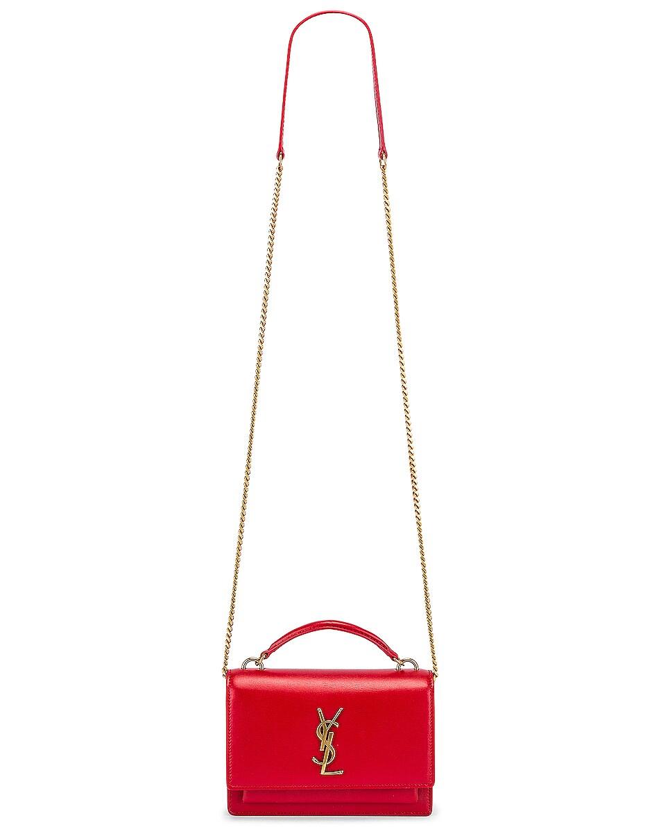 Image 6 of Saint Laurent Sunset Monogramme Crossbody Bag in Red