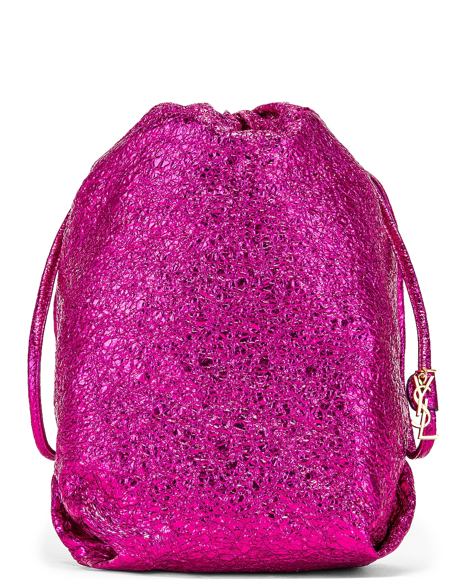 Image 1 of Saint Laurent Teddy Pouch Chain Bag in Fuchsia & Black