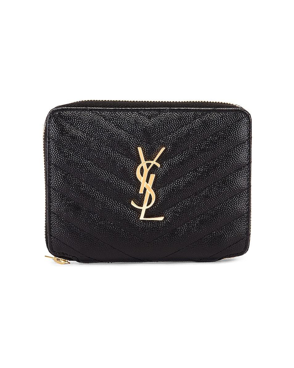 Image 1 of Saint Laurent Medium Zip Around Wallet in Black