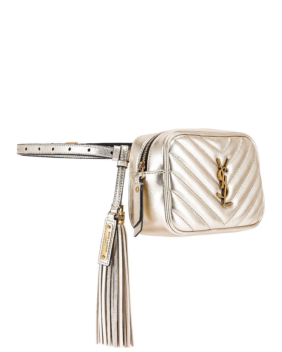 Image 4 of Saint Laurent Lou Monogramme Leather Belt Bag in Platino