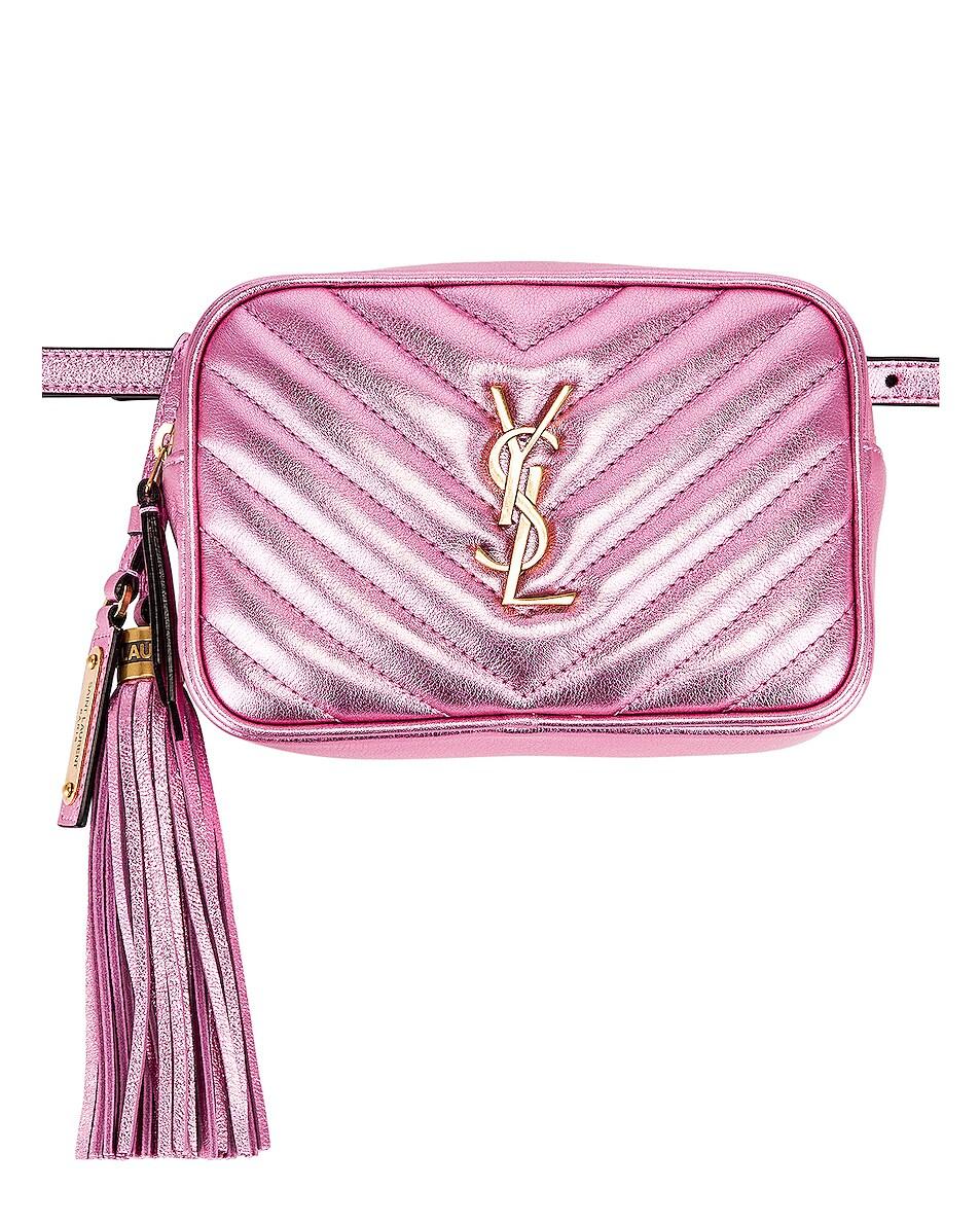 Image 1 of Saint Laurent Lou Monogramme Leather Belt Bag in Vegas Pink
