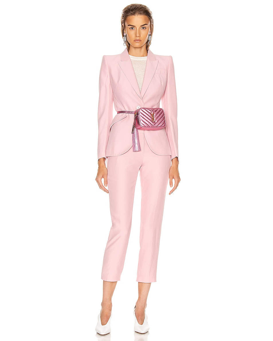 Image 2 of Saint Laurent Lou Monogramme Leather Belt Bag in Vegas Pink