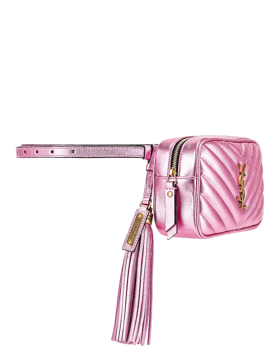 Image 4 of Saint Laurent Lou Monogramme Leather Belt Bag in Vegas Pink