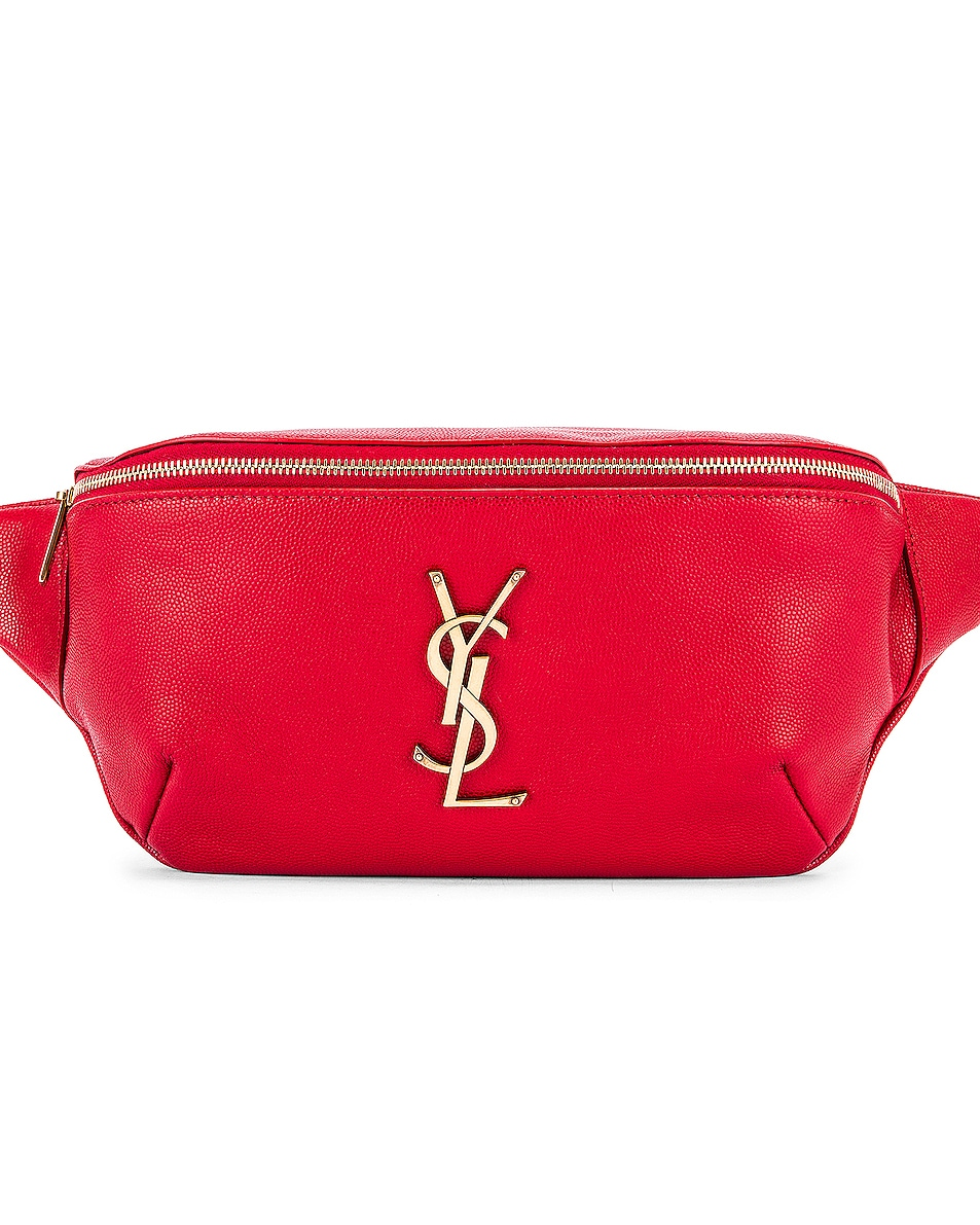 Image 1 of Saint Laurent Classic Leather Monogramme Belt Bag in Red