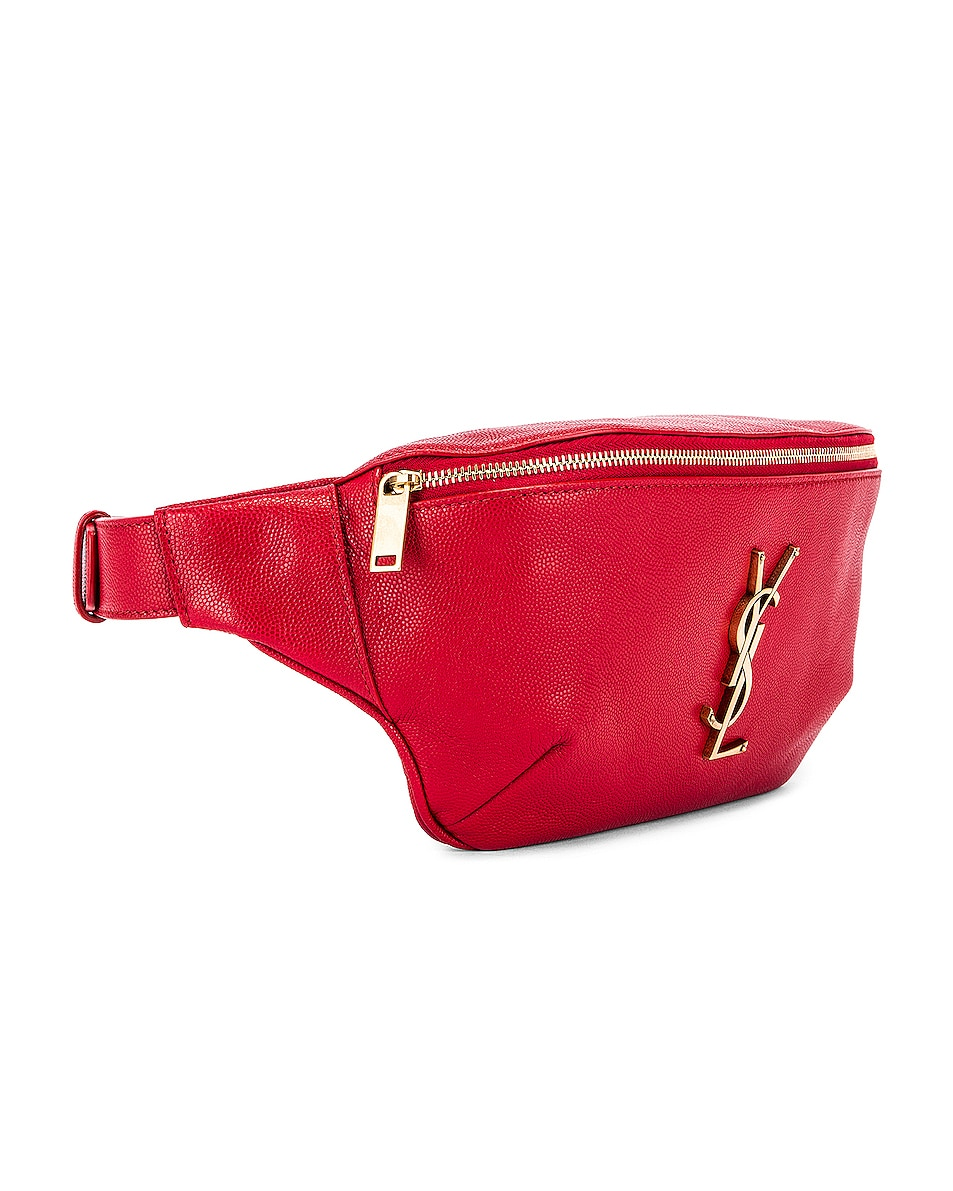 Image 4 of Saint Laurent Classic Leather Monogramme Belt Bag in Red