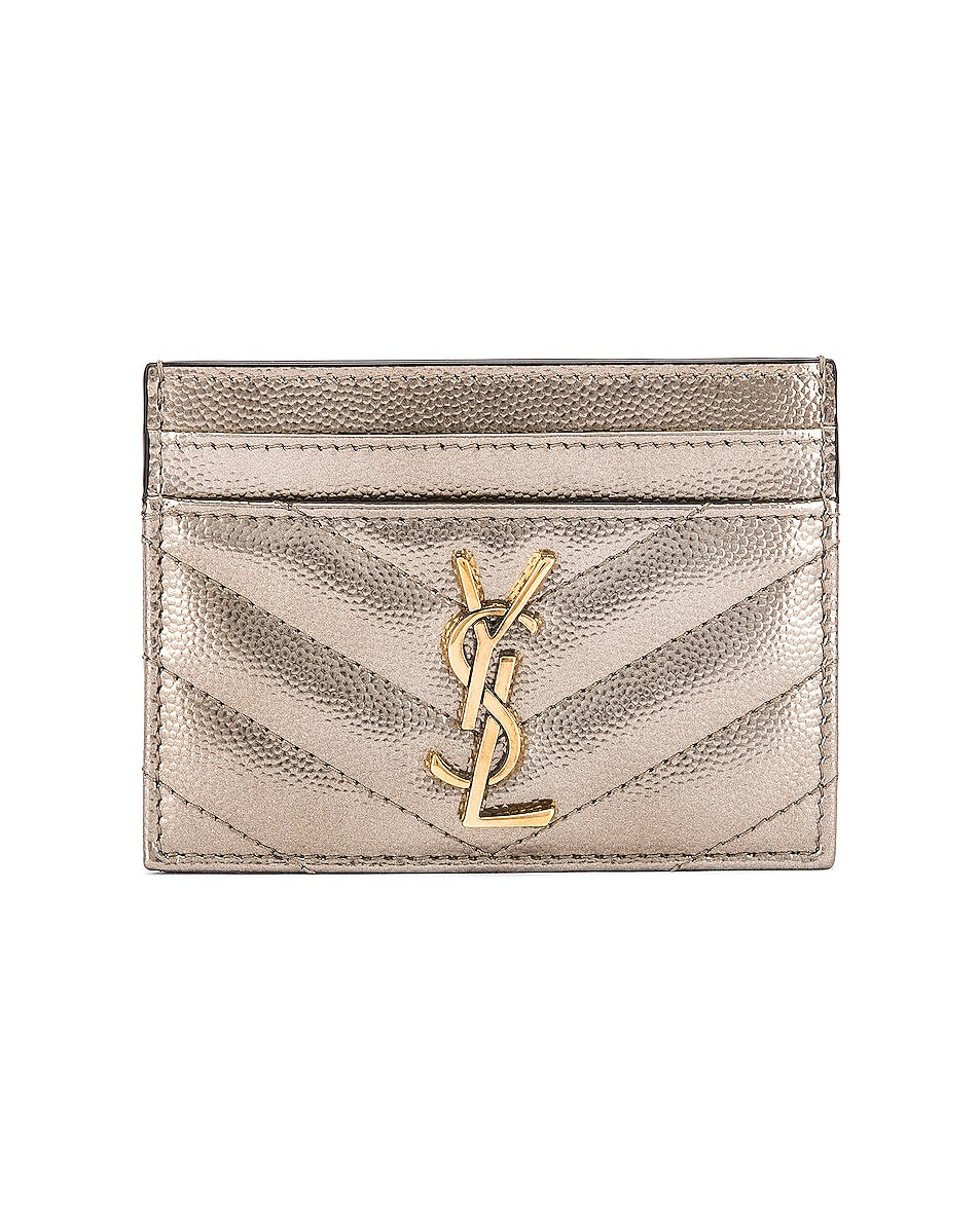 Image 1 of Saint Laurent Monogramme Card Case in Piombo