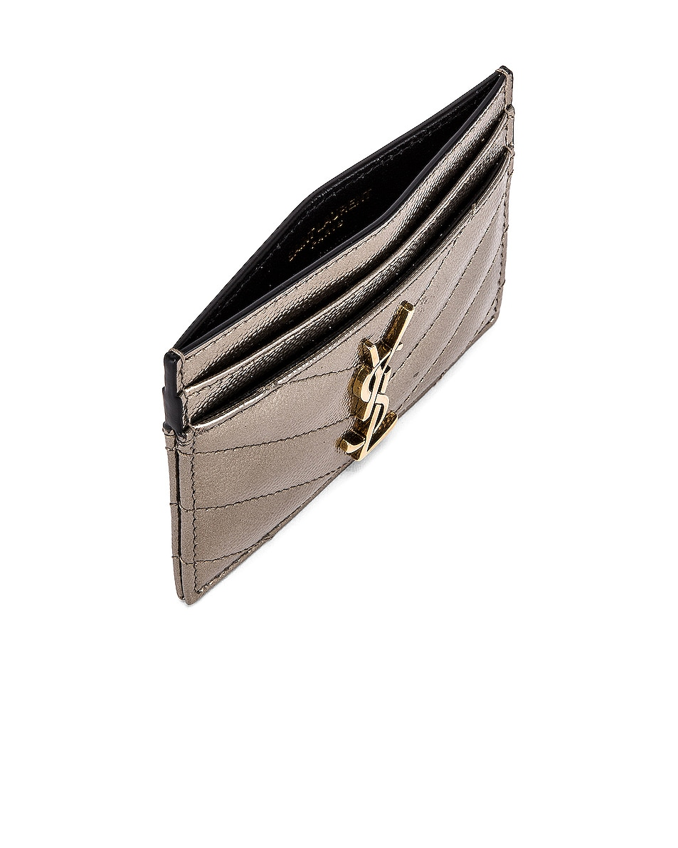 Image 4 of Saint Laurent Monogramme Card Case in Piombo