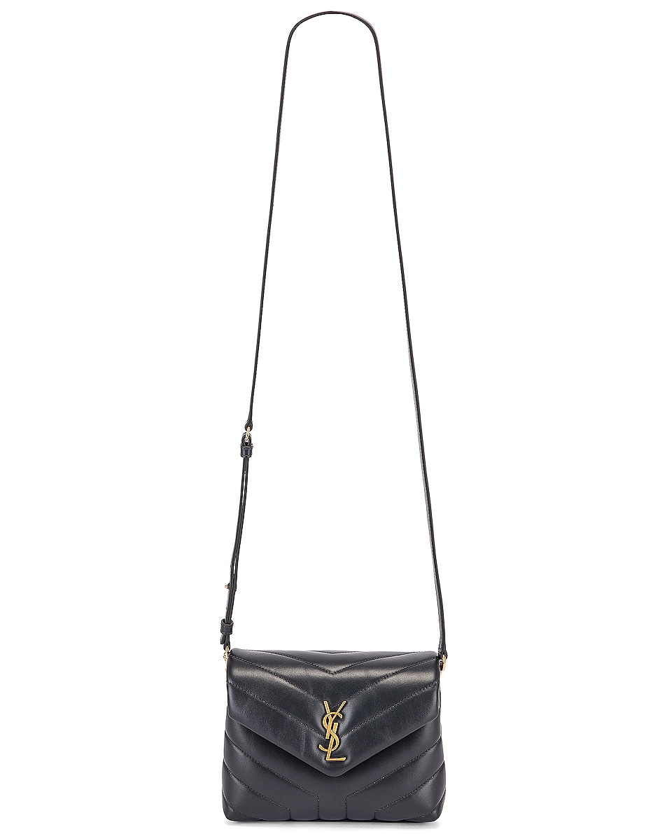 Image 6 of Saint Laurent Toy Supple Monogramme Loulou Strap Bag in Dark Smog
