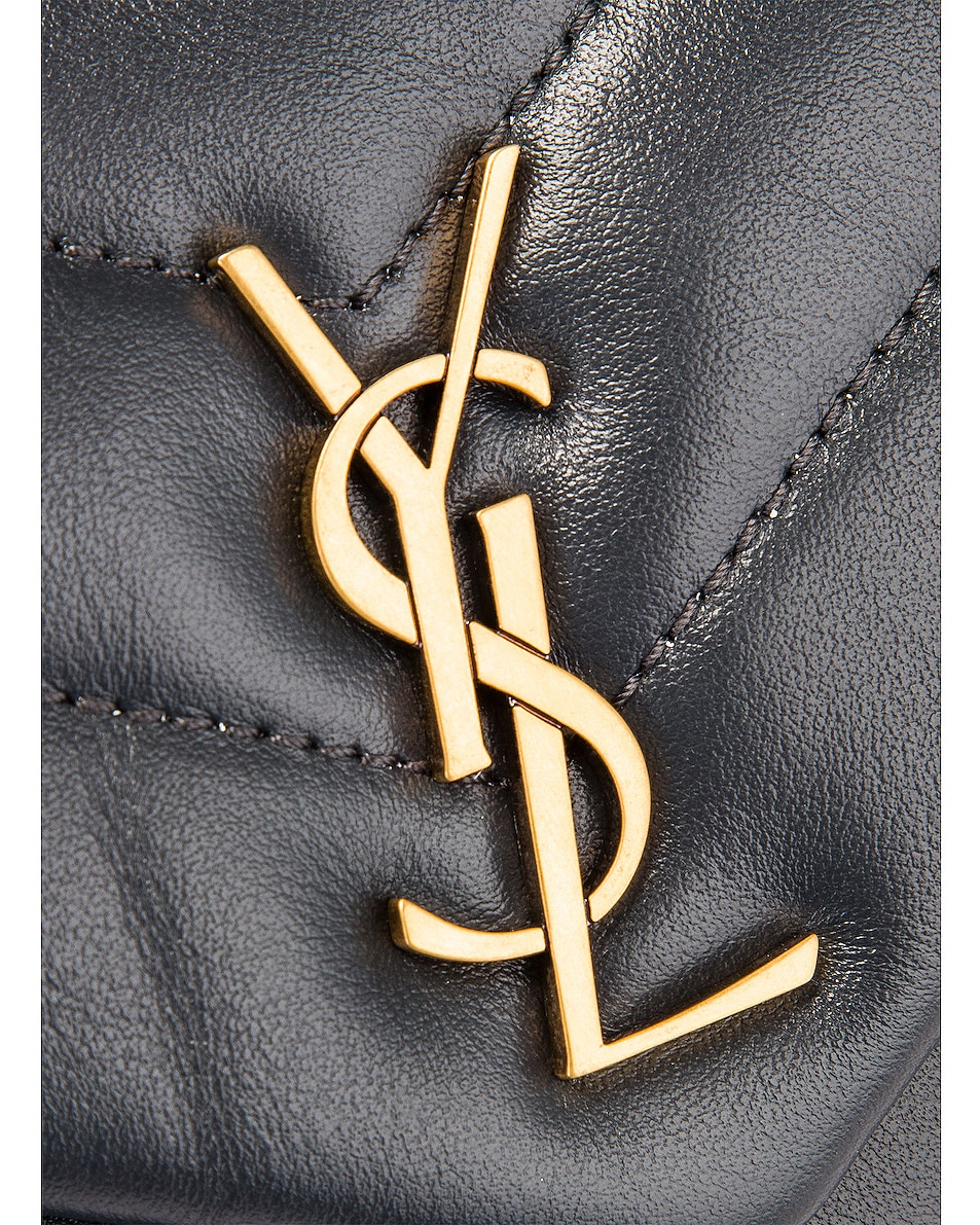 Image 8 of Saint Laurent Toy Supple Monogramme Loulou Strap Bag in Dark Smog