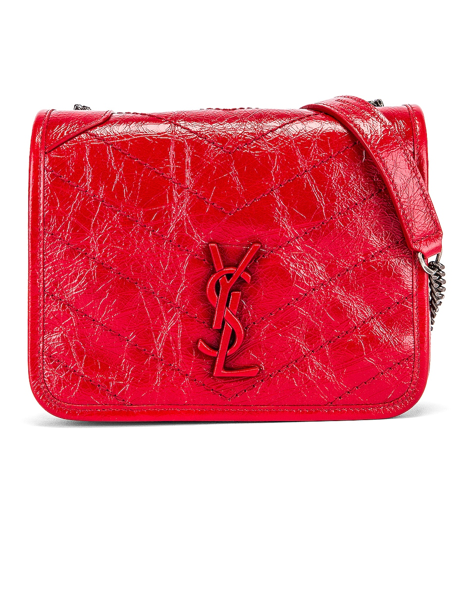 Image 1 of Saint Laurent Niki Wallet Chain Bag in Red