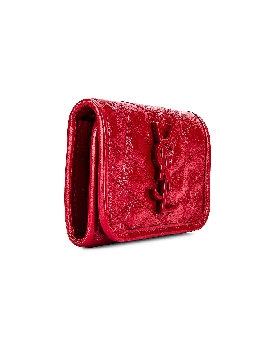 Image 3 of Saint Laurent Niki Credit Card Wallet in Red