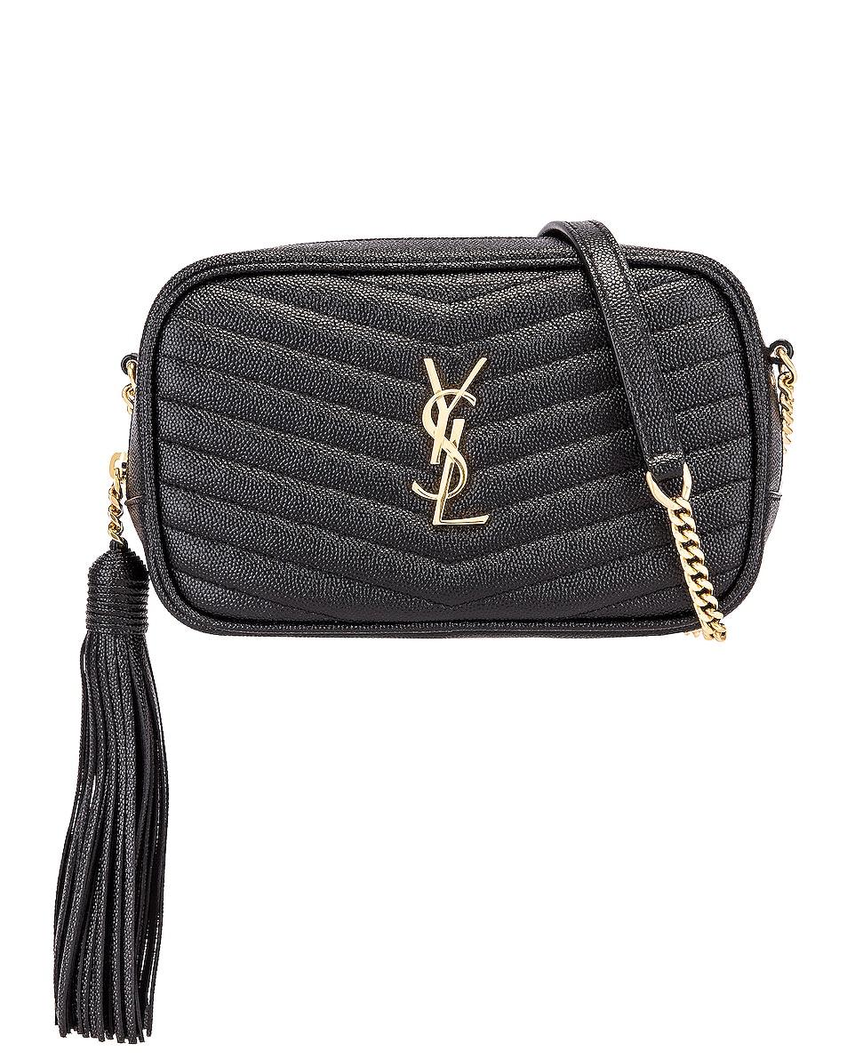 Image 1 of Saint Laurent Leather Monogramme Mini Lou Crossbody Bag in Black