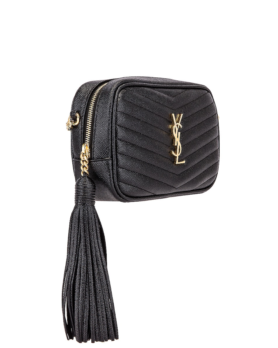Image 4 of Saint Laurent Leather Monogramme Mini Lou Crossbody Bag in Black