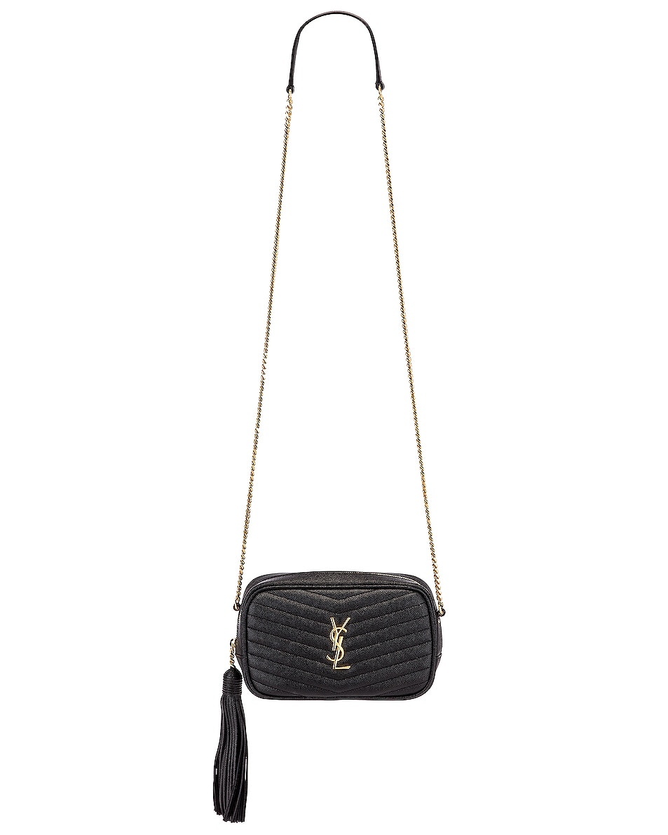 Image 6 of Saint Laurent Leather Monogramme Mini Lou Crossbody Bag in Black
