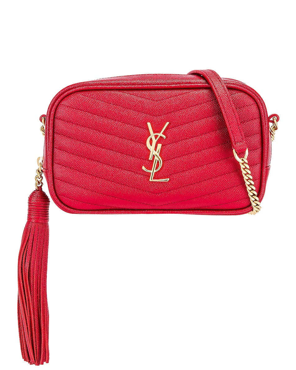 Image 1 of Saint Laurent Leather Monogramme Mini Lou Crossbody Bag in Red