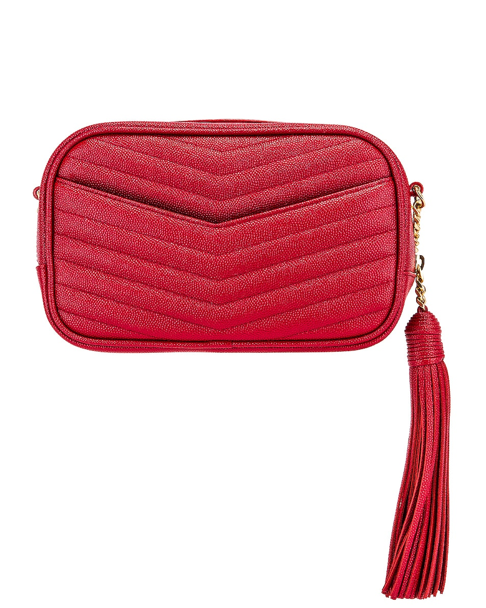 Image 3 of Saint Laurent Leather Monogramme Mini Lou Crossbody Bag in Red