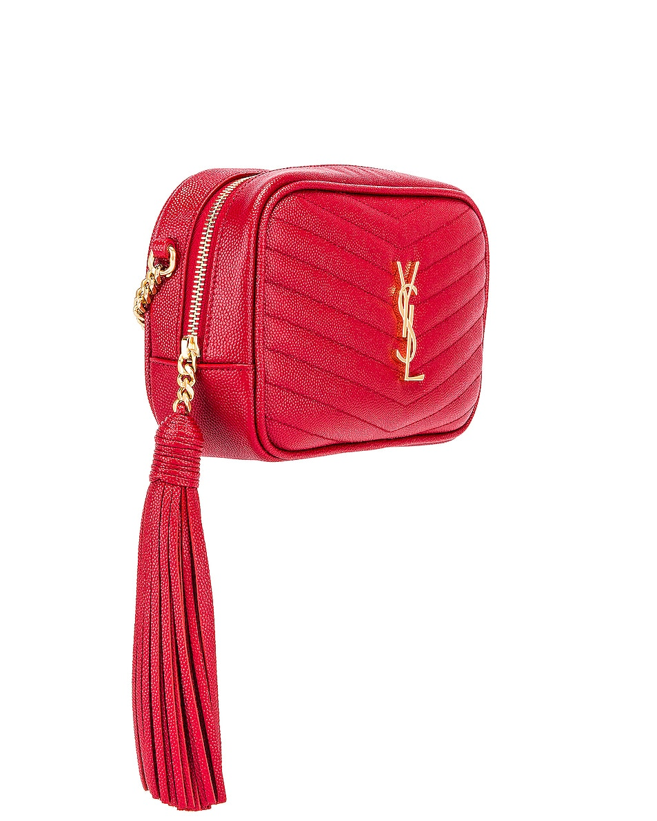 Image 4 of Saint Laurent Leather Monogramme Mini Lou Crossbody Bag in Red