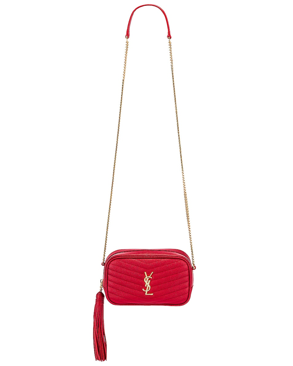 Image 6 of Saint Laurent Leather Monogramme Mini Lou Crossbody Bag in Red