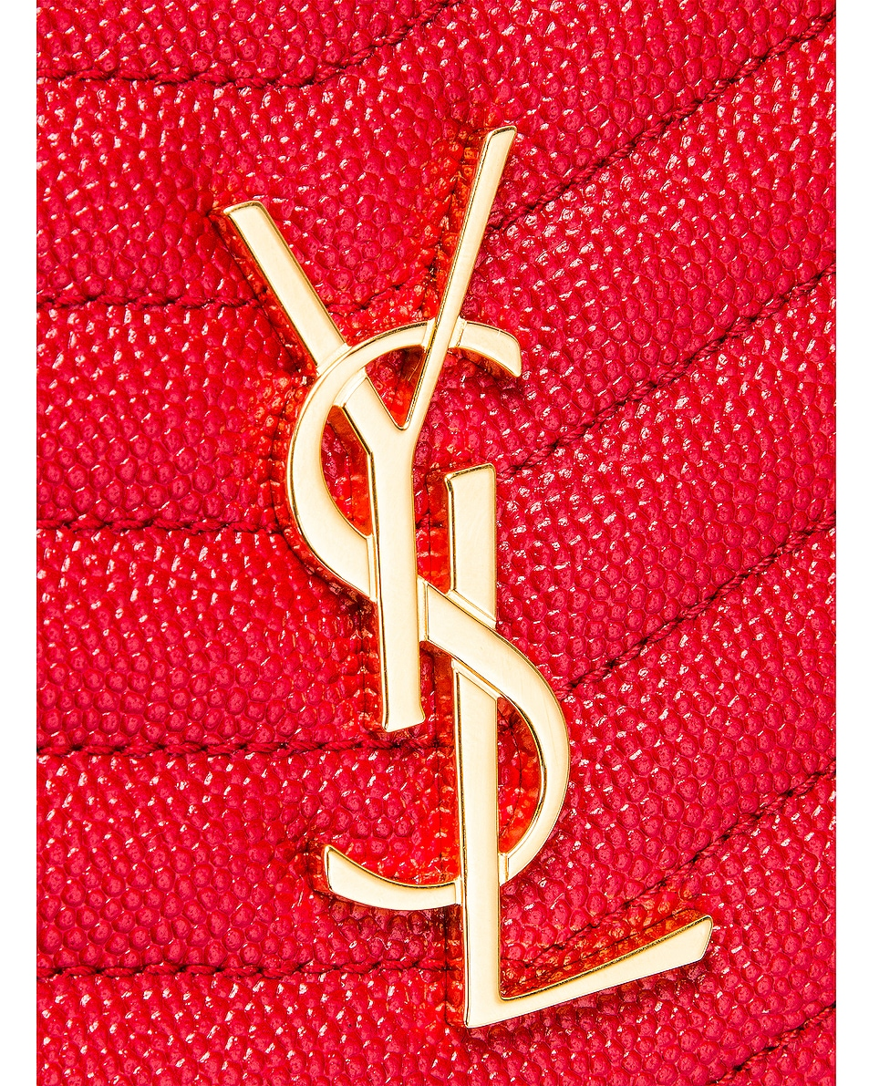 Image 8 of Saint Laurent Leather Monogramme Mini Lou Crossbody Bag in Red