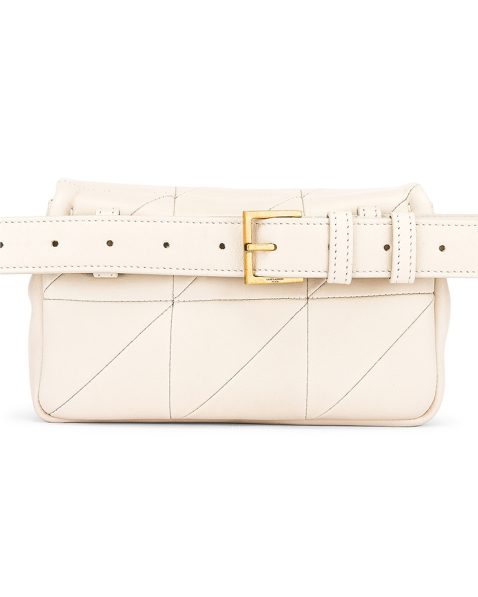 Image 3 of Saint Laurent Jamie Leather Belt Bag in Crema Soft