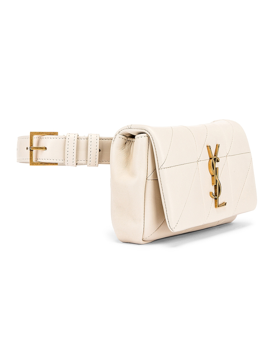 Image 4 of Saint Laurent Jamie Leather Belt Bag in Crema Soft