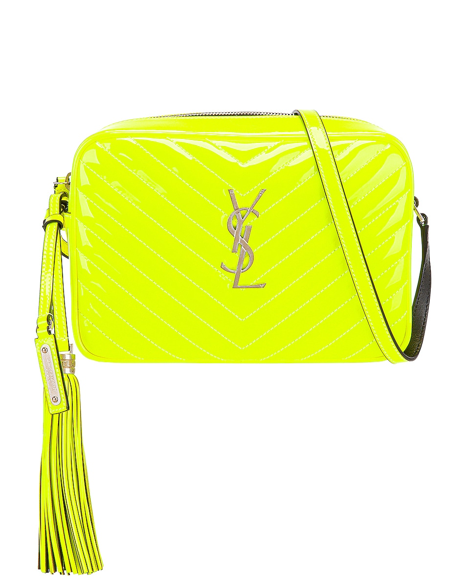 Image 1 of Saint Laurent Medium Monogramme Lou Satchel Bag in Neon Yellow