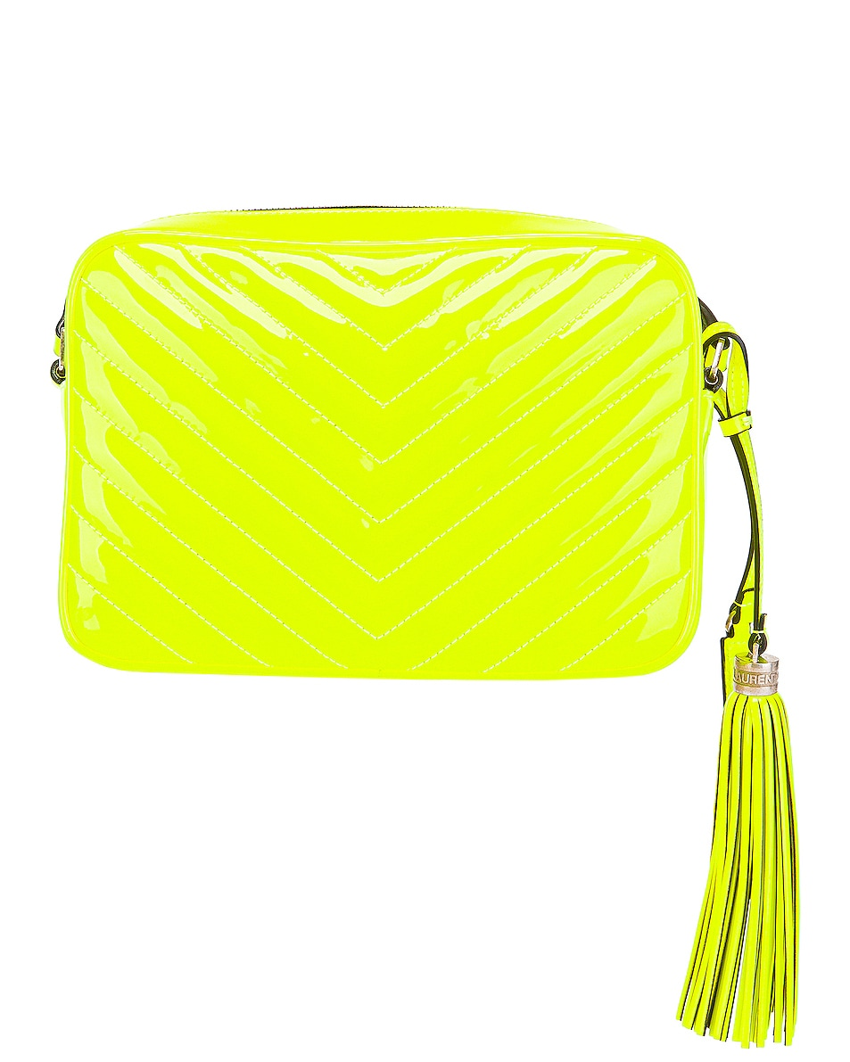 Image 3 of Saint Laurent Medium Monogramme Lou Satchel Bag in Neon Yellow