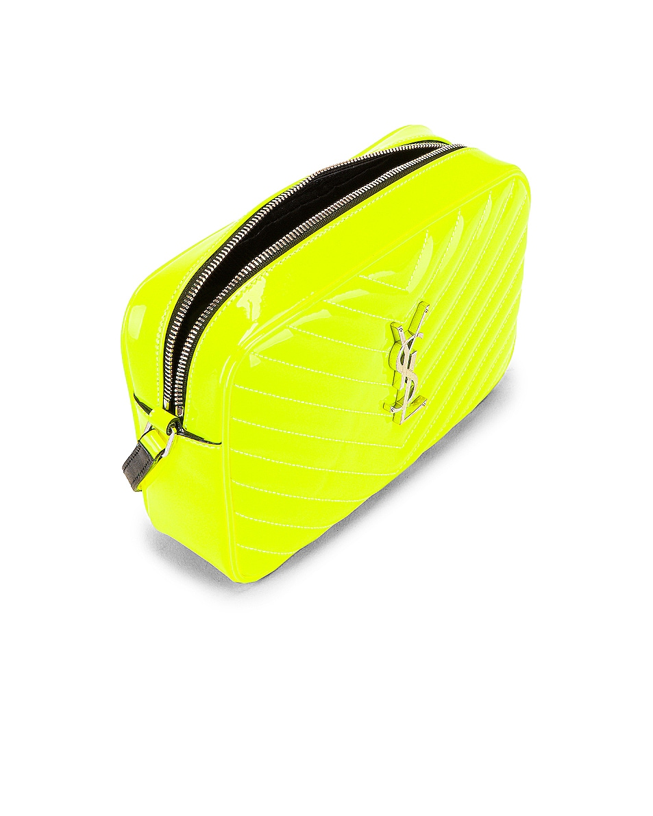 Image 5 of Saint Laurent Medium Monogramme Lou Satchel Bag in Neon Yellow
