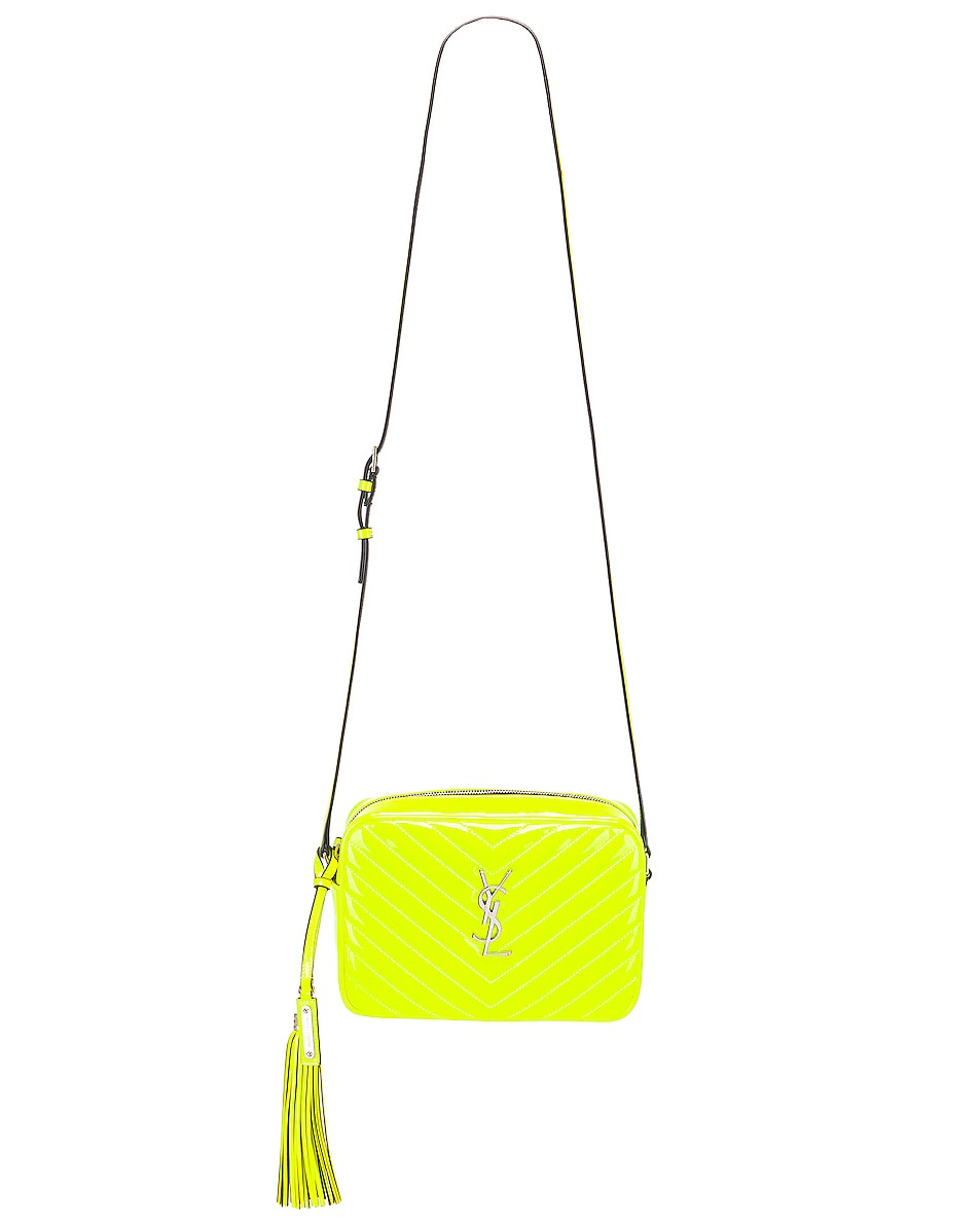 Image 6 of Saint Laurent Medium Monogramme Lou Satchel Bag in Neon Yellow