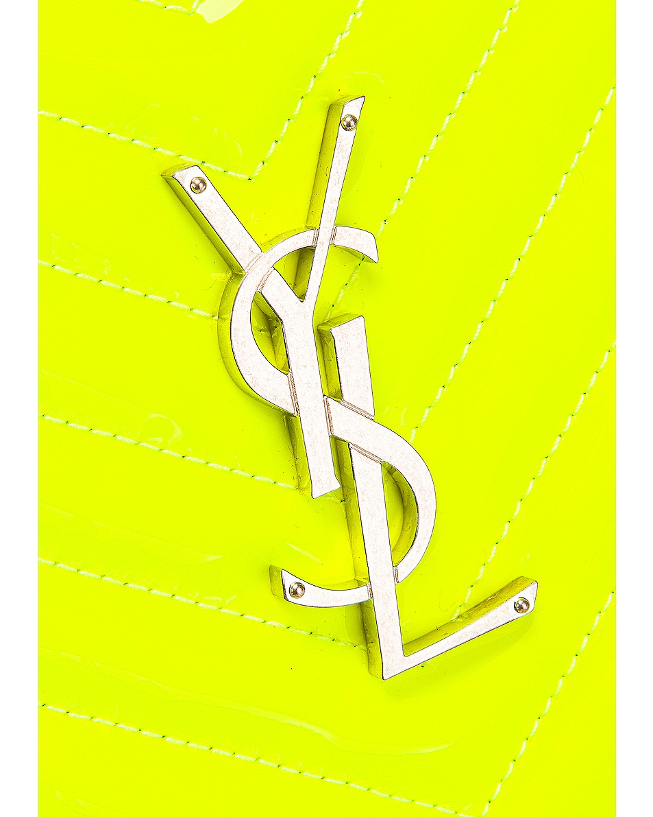 Image 8 of Saint Laurent Medium Monogramme Lou Satchel Bag in Neon Yellow