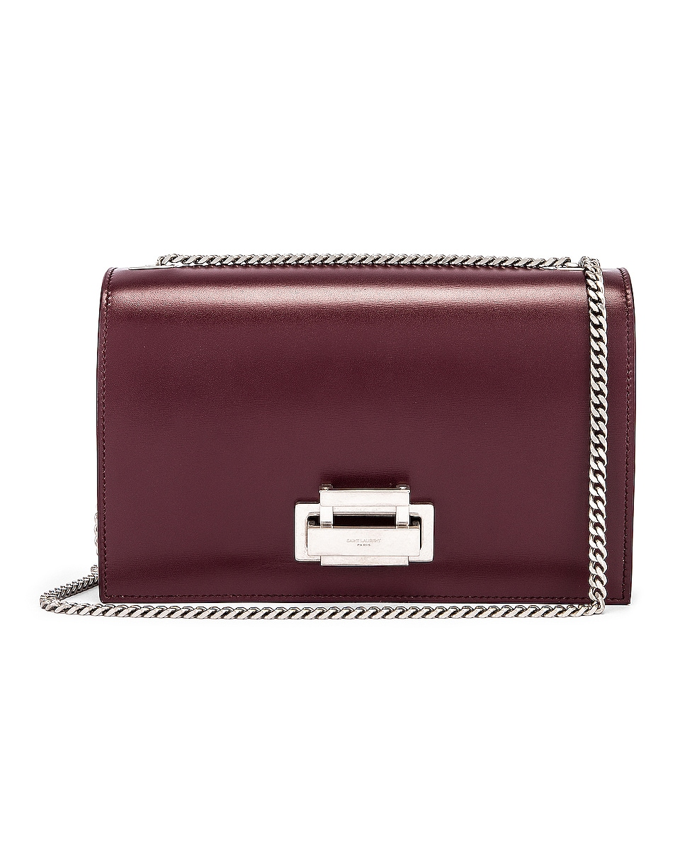 Image 1 of Saint Laurent Fermoir Art Deco Leather Crossbody Chain Bag in Rouge Legion