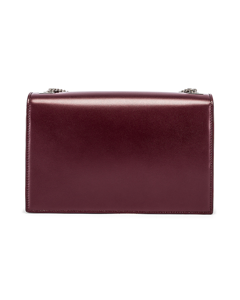 Image 3 of Saint Laurent Fermoir Art Deco Leather Crossbody Chain Bag in Rouge Legion