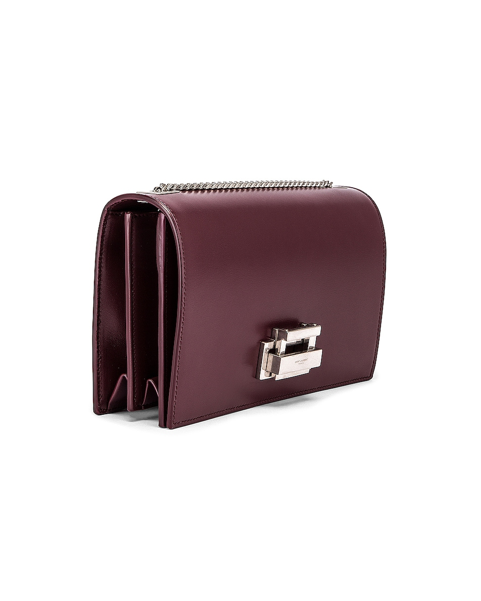 Image 4 of Saint Laurent Fermoir Art Deco Leather Crossbody Chain Bag in Rouge Legion