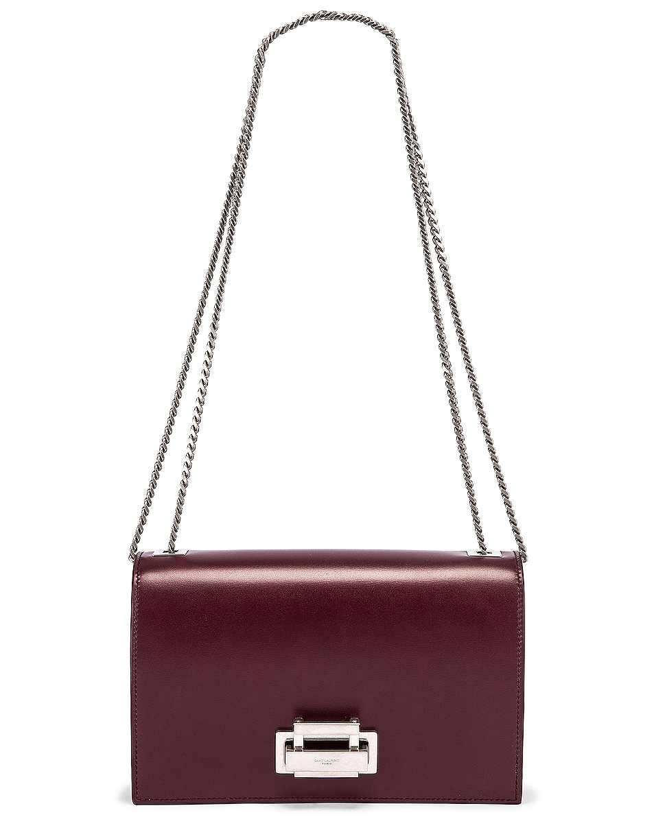 Image 6 of Saint Laurent Fermoir Art Deco Leather Crossbody Chain Bag in Rouge Legion