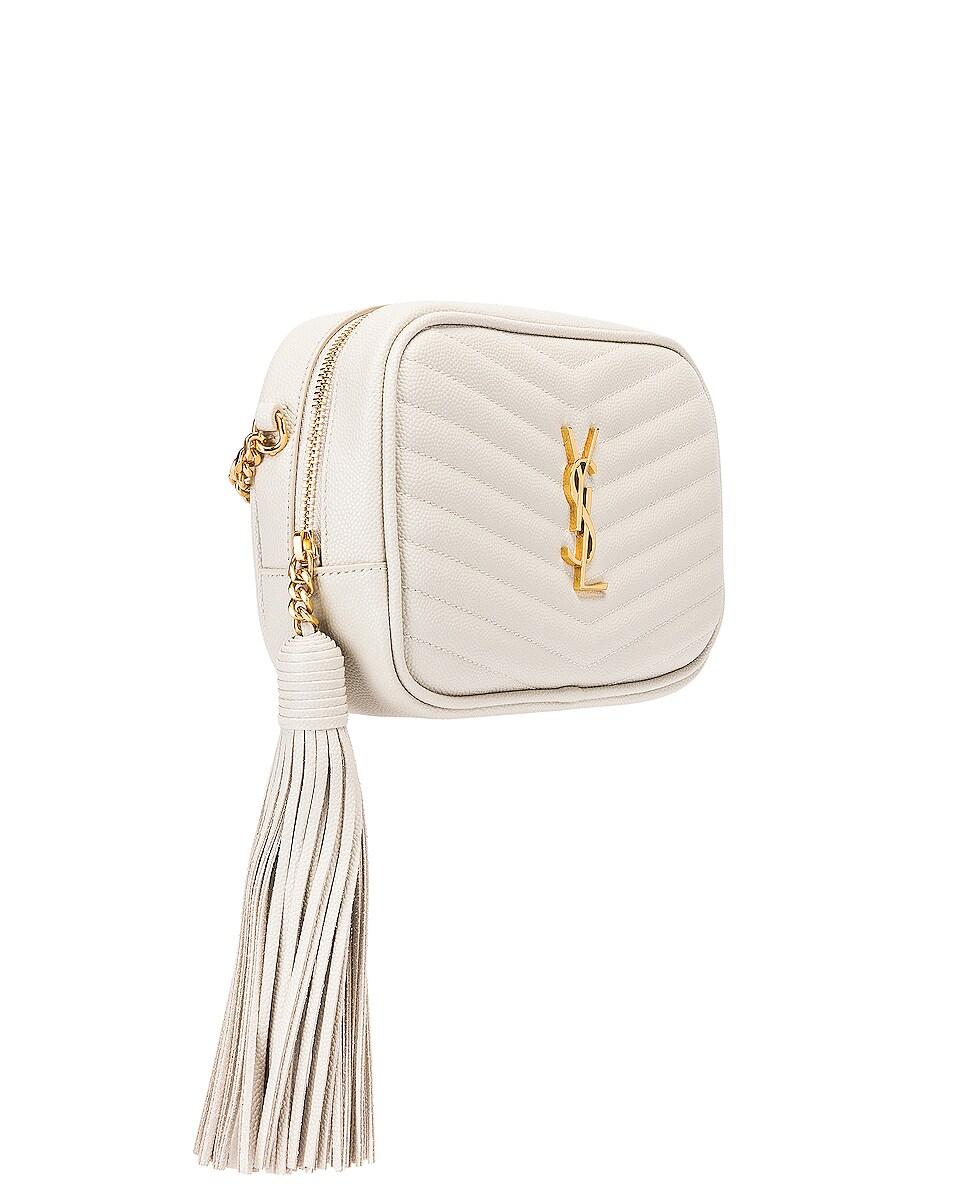 Image 4 of Saint Laurent Leather Monogramme Mini Lou Crossbody Bag in Crema Soft