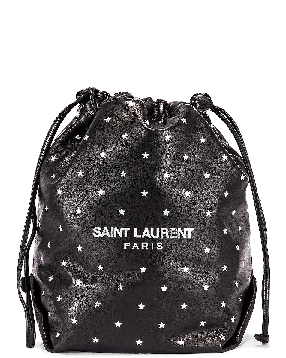 Image 1 of Saint Laurent Star Teddy Pouch Chain Bag in Black & Silver