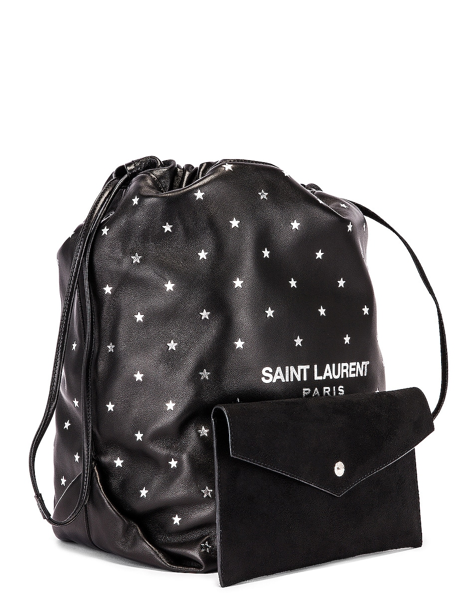 Image 4 of Saint Laurent Star Teddy Pouch Chain Bag in Black & Silver