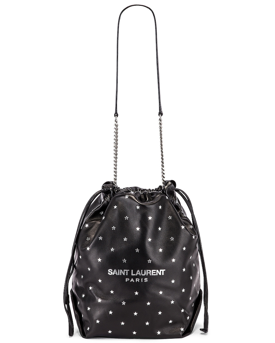 Image 6 of Saint Laurent Star Teddy Pouch Chain Bag in Black & Silver