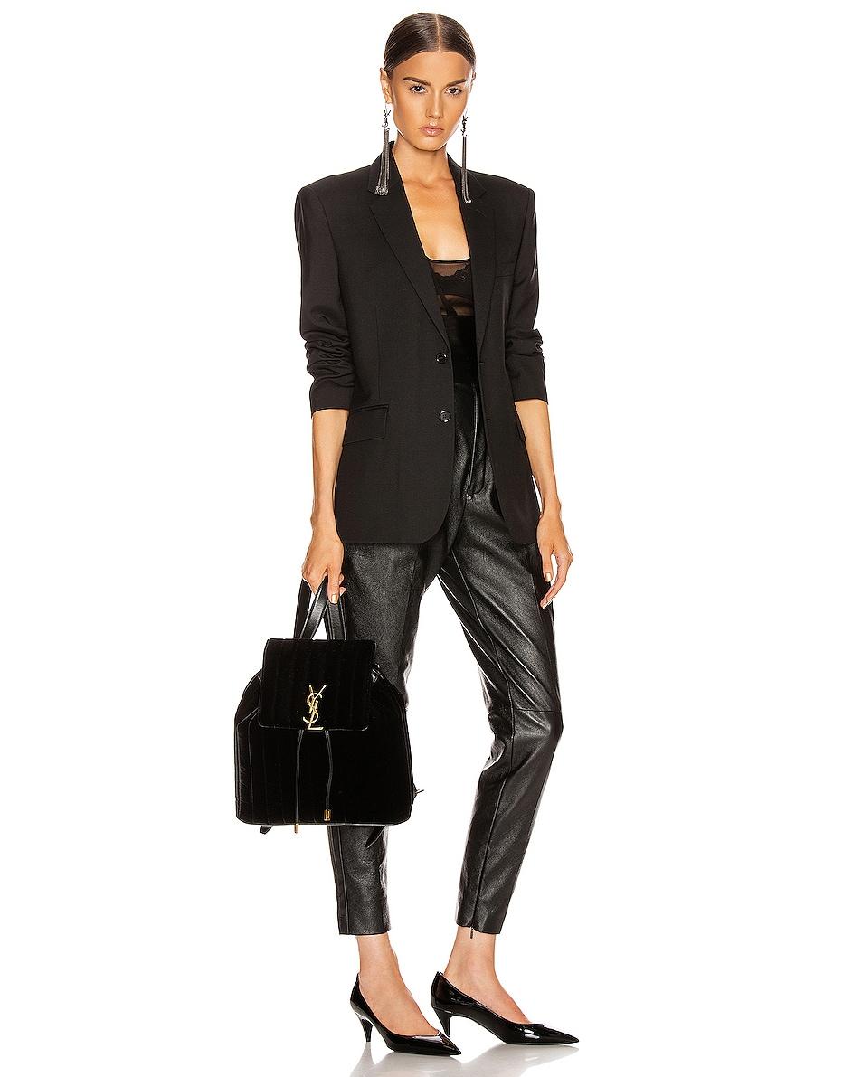 Image 2 of Saint Laurent Velvet Monogramme Vicky Backpack in Black