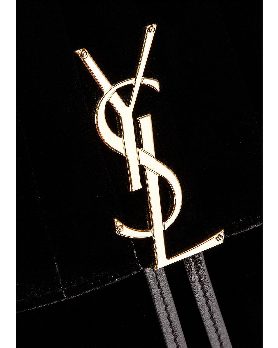 Image 7 of Saint Laurent Velvet Monogramme Vicky Backpack in Black