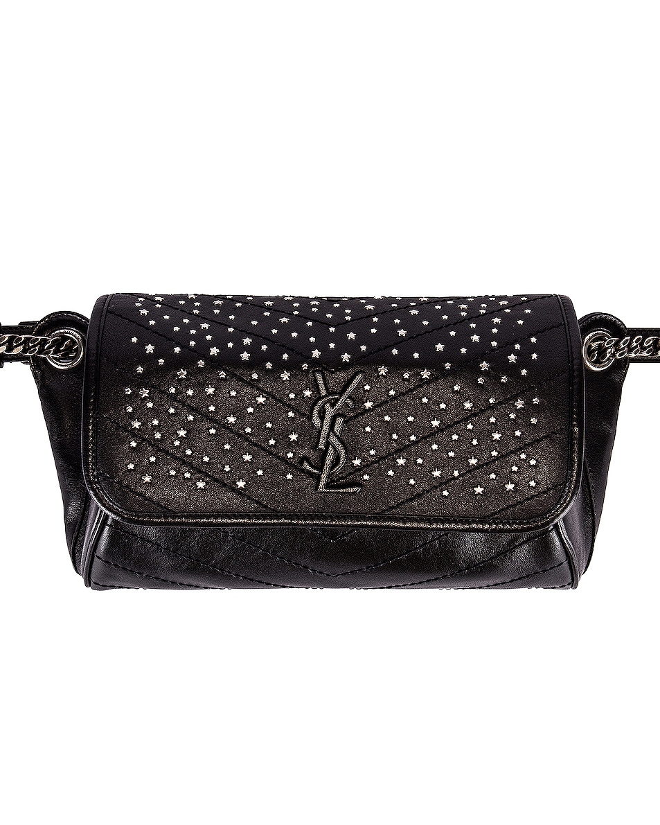 Image 1 of Saint Laurent Monogramme Stardust Monogramme Niki Body Bag in Black