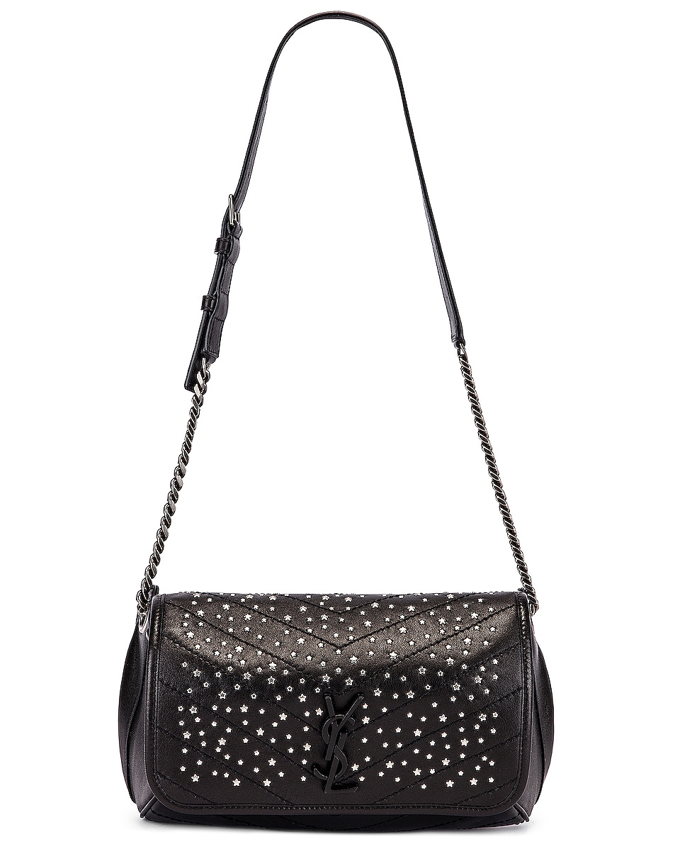 Image 5 of Saint Laurent Monogramme Stardust Monogramme Niki Body Bag in Black